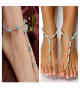 Handmade Blue Pearls Barefoot Sandals