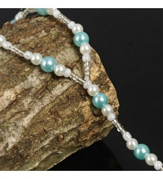 Handmade Blue Pearls Barefoot Sandals in Women's Anklets