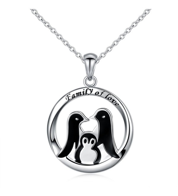 "925 Sterling Silver Penguin Loving Family Round Pendant Necklace for Women- 18"" - C7185M380N0"