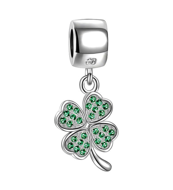 SOUFEEL Four Leaf Clover Charm Dangle 925 Sterling Silver Charms Pendant Fit European Bracelets - CL11MP86N6R