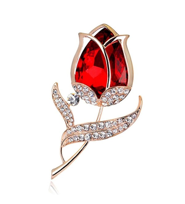 Sanwood Women's Fashion Rhinestone Glass Tulip Flower Brooch Pin Wedding Party Jewelry Gift - C217XXCG707