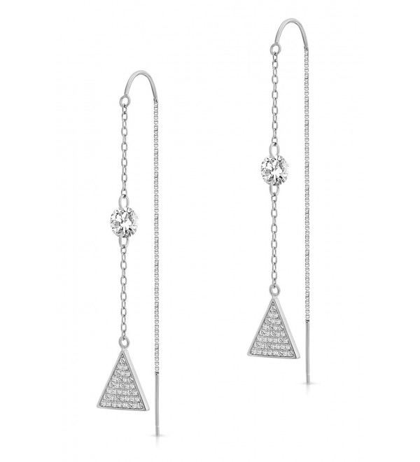 Sterling Silver Triangle Threader Drop Earrings with Cubic Zirconia - Silver - CT184HD27TG