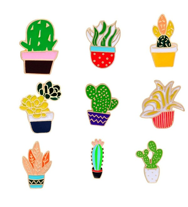 Women Children Cute Cactus Lotus Flower Grass Aloe Vera Potted Badge Corsage Collar Brooch Label Pin - 6 - CX17YOY57QI