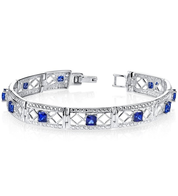 Created Sapphire Bracelet Sterling Silver Victorian Style - CJ111PM0QLH