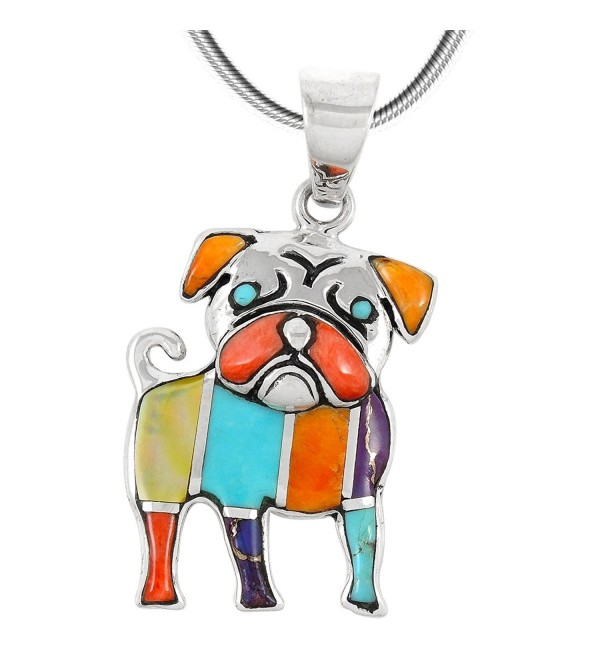 "Puppy Dog Turquoise & Gemstone Pendant Necklace in 925 Sterling Silver (18"" Length) - Multi - Dog 3245 - CI184EC9W7R"