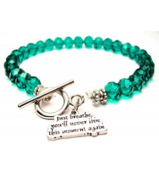 Just Breathe- You'll Never Live This Moment Again Crystal Toggle Bracelet in Emerald Green - C3128RP398V