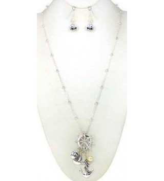 "Nautical Anchor Cluster with Imitation Pearl 30"" Necklace Set with Sailor cap Earrings - Silver-tone - CG11HNJQMUF"