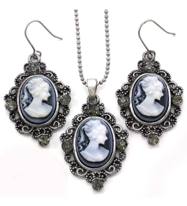 Grey Cameo Necklace Pendant Dangle Drop Earrings Fashion Jewelry Set - C4119ALAJZV