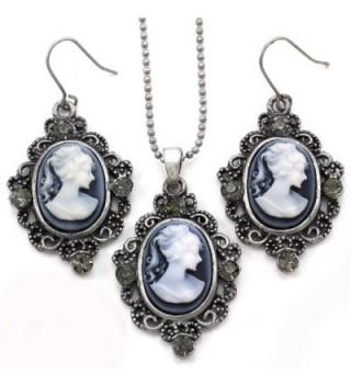 Grey Cameo Necklace Pendant Dangle Drop Earrings Fashion Jewelry Set - C4119ALAJZV
