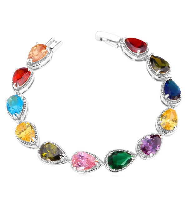 U7 Colorful Cubic Zirconia Bracelet 3-Prong Gold Plated Link 9mm Wide 20CM Tennis Bracelet - Platinum - CB1276FUOZT