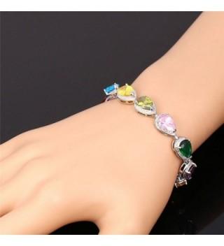U7 Colorful Zirconia Bracelet Platinum