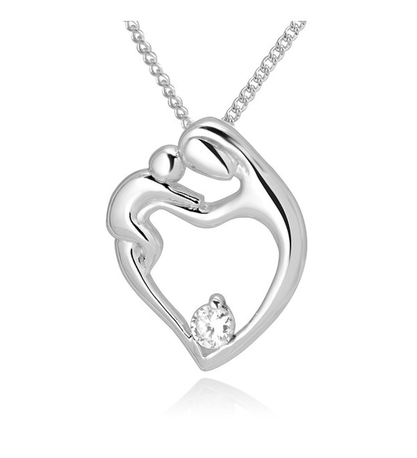 "925 Sterling Silver Simulated Cubic Zirconia Mom and Daughter Pendant Necklace- 18"" - CD11M5Z0O6Z"
