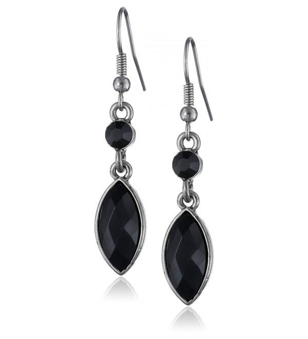 1928 Jewelry Navette Drop Earrings - Silver-Tone/Jet/Crystal - CN11FP2J4GV