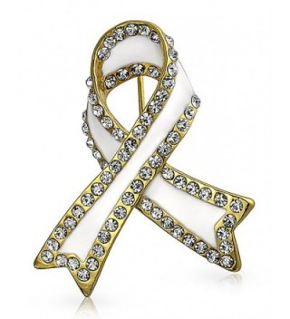 Bling Jewelry White Enamel Crystal Lung Cancer Awareness Pin Gold Plated - CE125H2F8O5