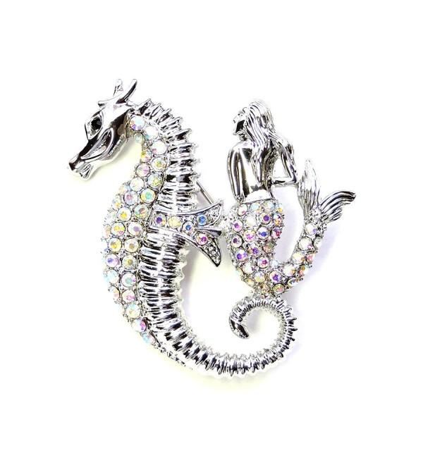 Faship Sparkling AB Crystal Seahorse Mermaid Pin Brooch - CB11S806EK1