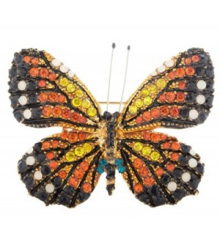 "Monarch Butterfly Brooch Pin 2"" with Exquisite Detail and Crystal Accents - CG121HEWK93"