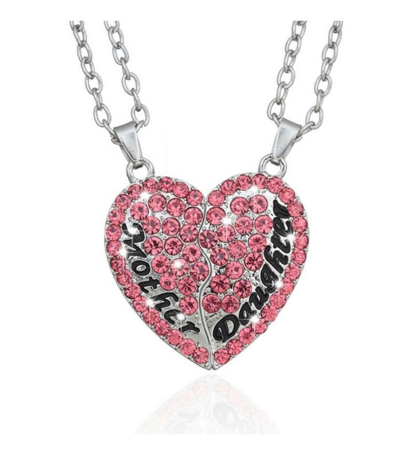 Split Pink Heart Pendant Necklace - Set of 2 Mother & Daughter Heart Pendant Necklace - CX184W3QTLN