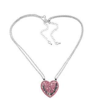 Split Pink Heart Pendant Necklace in Women's Pendants