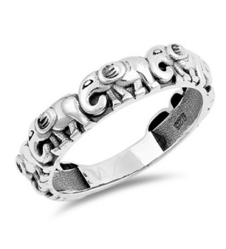 Elephant Animal Cute Stackable Thumb Ring .925 Sterling Silver Band Sizes 5-12 - CR187Z4TKGY