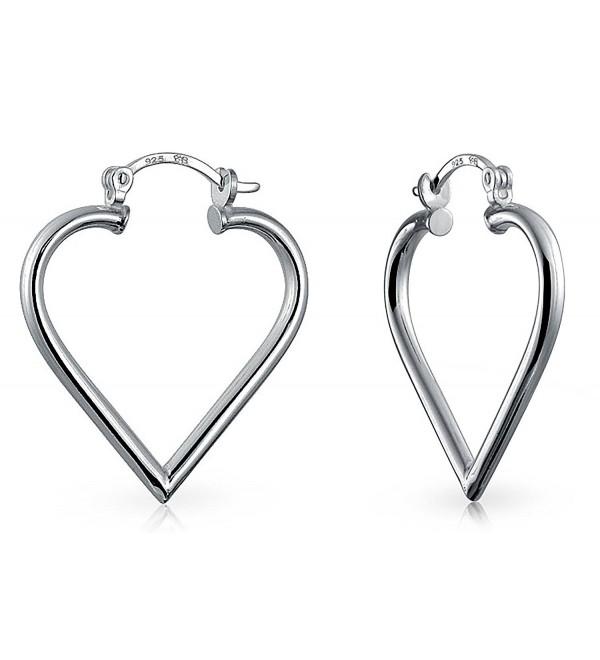 Bling Jewelry Open Top Heart .925 Silver Hoop Earrings - CF12974SWDD
