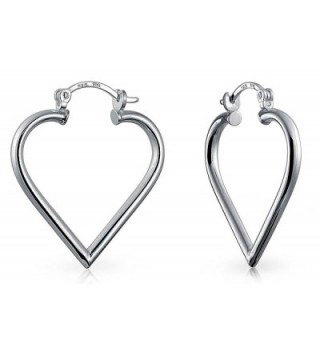 Bling Jewelry Open Top Heart .925 Silver Hoop Earrings - CF12974SWDD