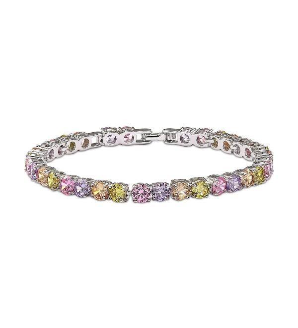 OKAJEWELRY 10.00 Ct Round Cut Stunning Cubic Zirconia Multicolored Tennis Bracelet 7 Inch - CG11Z1ASJ5X