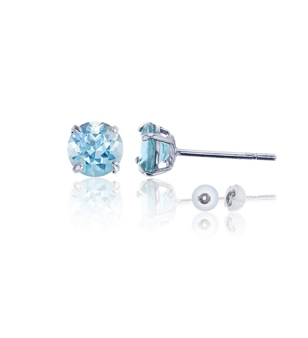 14K White Gold 6.00mm Round Stud Earring - Aquamarine - CD187IE24Q5