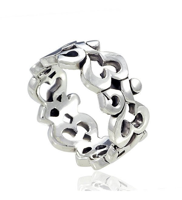 925 Sterling Silver Om Ohm Aum Symbol High Polished Finish Band Ring - CP119DD5YP3