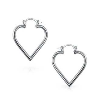 Bling Jewelry Heart Silver Earrings in Women's Hoop Earrings