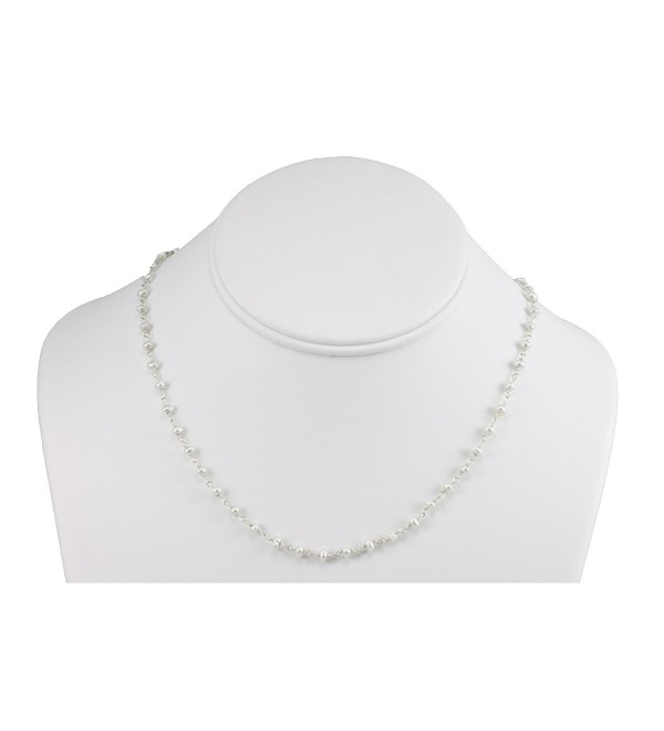 "Sterling Silver And Silvertone Freshwater Cultured Pearl Necklace White Small Chain Link (3.0-3.5mm)- 18"" - C011CR4AWDX"