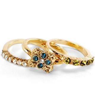 Inspirational Gold Swarovski Crystal Boho Balance Stack Rings - Set of 3 Stacking Rings - CS127WFHLLD