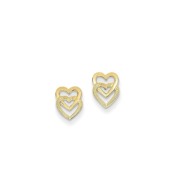 14K Yellow Gold Polished Double Heart Post Earrings (9MM Long x 6MM Wide) - CC11FS3MLJT