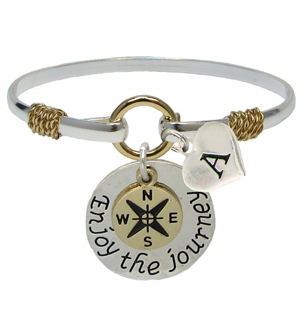 Custom Enjoy the Journey Silver Gold Bracelet Jewelry Graduation Initial Family - CZ182I80WDW