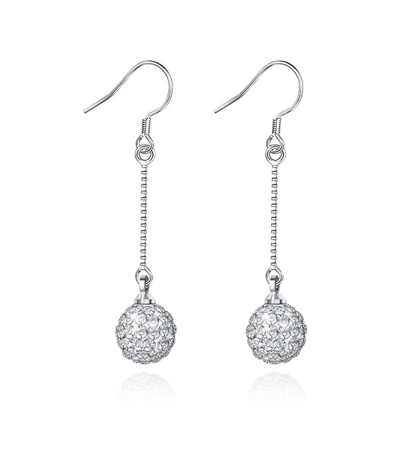 Jiayiqi Drop Earrings Charming Silver Ball Long Chain Dangle - C311XGOBEZT