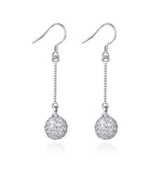 Jiayiqi Drop Earrings Charming Silver Ball Long Chain Dangle - C311XGOBEZT