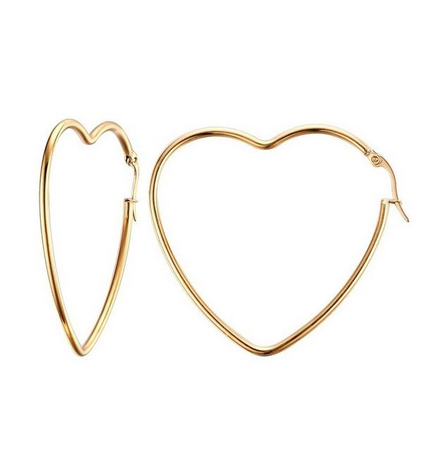 Mengpa Titanium Steel Women's Hoop Earrings In Gold Silver Black - Gold-Heart - CB186TY358Q