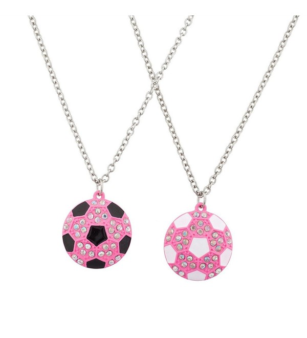 Lux Accessories Best Friends BFF Pink Soccer Ball Sports Charm Necklace( 2 Pc ) - CO12F780VGJ