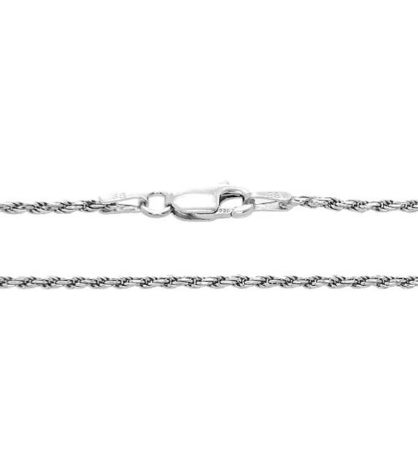 Sterling Silver 1.5 Millimeter Rhodium Plated Solid Rope Chain Necklace - CD119C9YELN