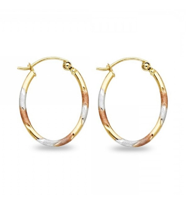 Solid 14k Yellow White Rose Gold Oval Tube Hoop Earrings Diamond Cut Satin Tri Color 20 x 1.5 mm - CX185AUODX2