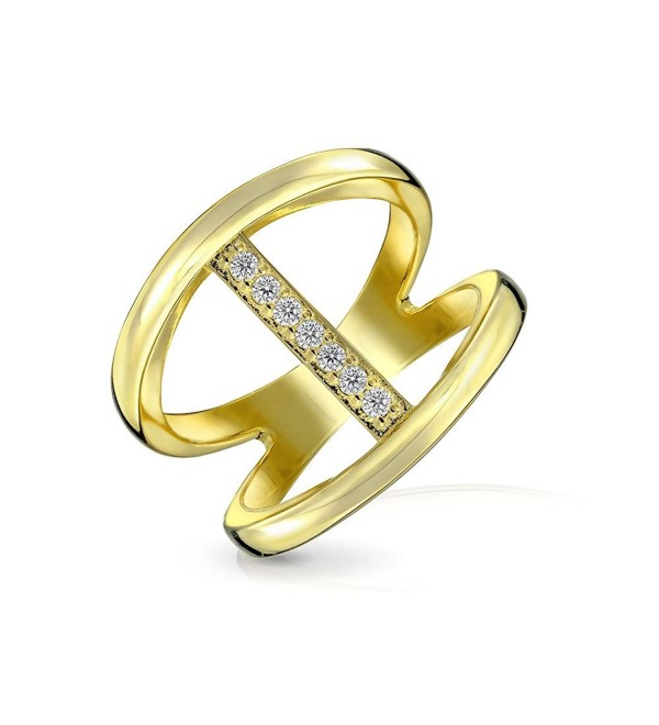 Bling Jewelry Modern Bar Double Band Pave CZ Gold Plated Silver Ring - CH12128KX6B