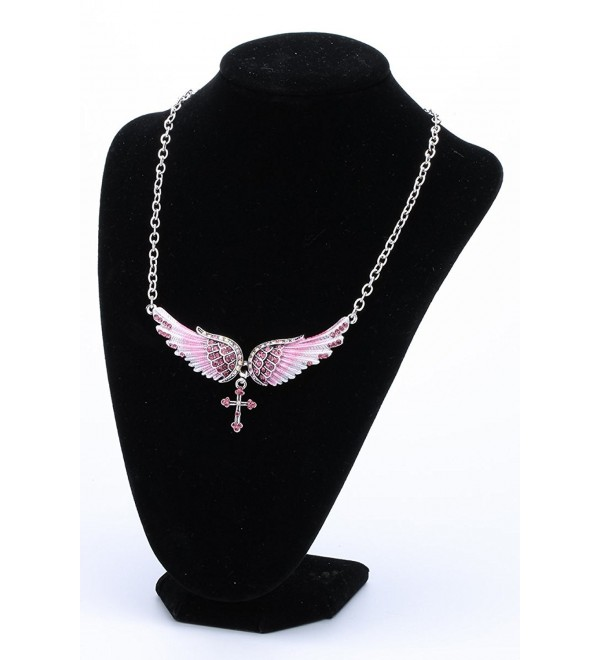 "YACQ Jewelry Angel Wings Cross Chocker necklace for Women 18""+2"" - Pink - CC17YG57CTO"