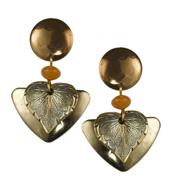 Heart Leaf Petals & Orange Bead Dangling Earring on Surgical Steel Ear wire by Silver Forest - C711NW6PP8D