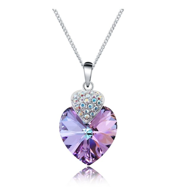Love Heart Pendant Necklaces for Womens Made with Swarovski Crystals Jewelry Chain 16+2 inch - Purple - CN1842D372A