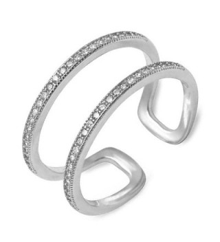 Double Band Ring Open Sterling Silver Plain Adjustable Sizes 5-10 - CI12N26W3FM