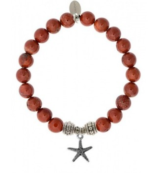 EvaDane Natural Red Jasper Gemstone Rope Bead Starfish Charm Stretch Bracelet - CJ12KIBE4VX