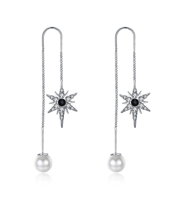 Gold/White Cubic Zirconia Threader Earrings Artificial Pearls Copper Dangle Earrings For Women Jewelry - White - CV188HCAE5E