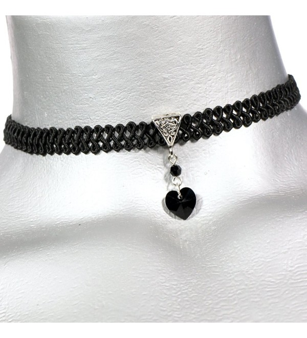 Twilight's Fancy Jet Black Swarovski Crystal Heart Pendant Choker Necklace - C011T4BK0IP