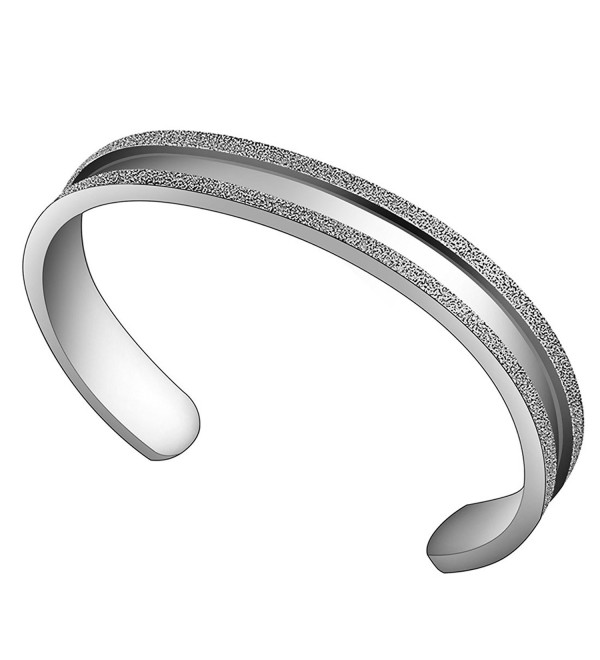 ZUOBAO Stainless Steel Elastic Hair tie Bracelet Brushed Edges for Women Girls - Silver - CX12HZX4VR9