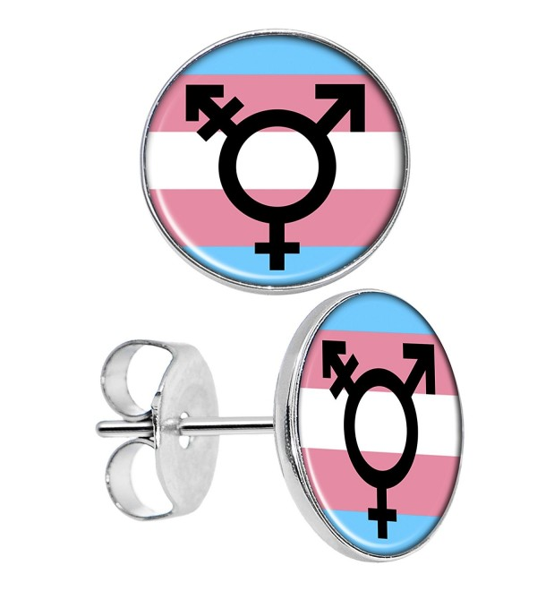 Body Candy Stainless Steel Transgender Flag Round Stud Earrings - CD12CGDWB6V