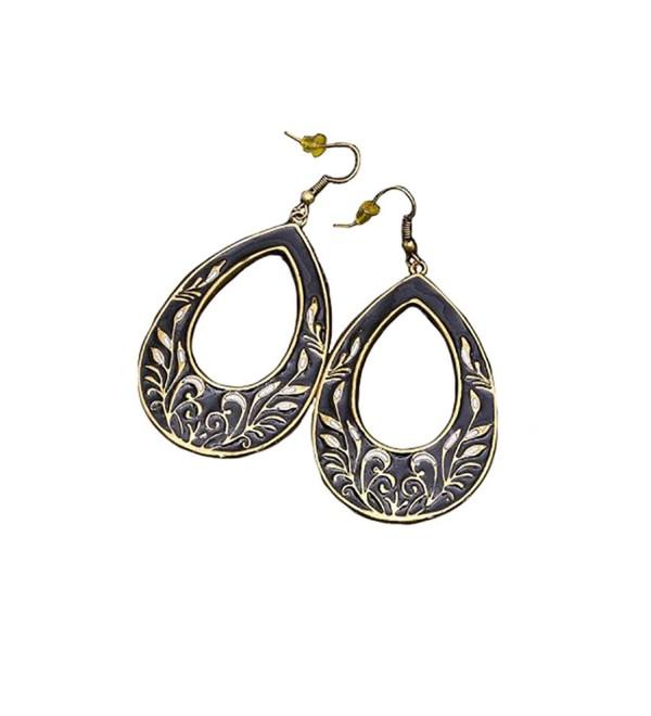 Fashion Vintage Rhinestone Crystal Pierced Drop Earrings. Stainless steel - Enamel Black - C818923M2SN